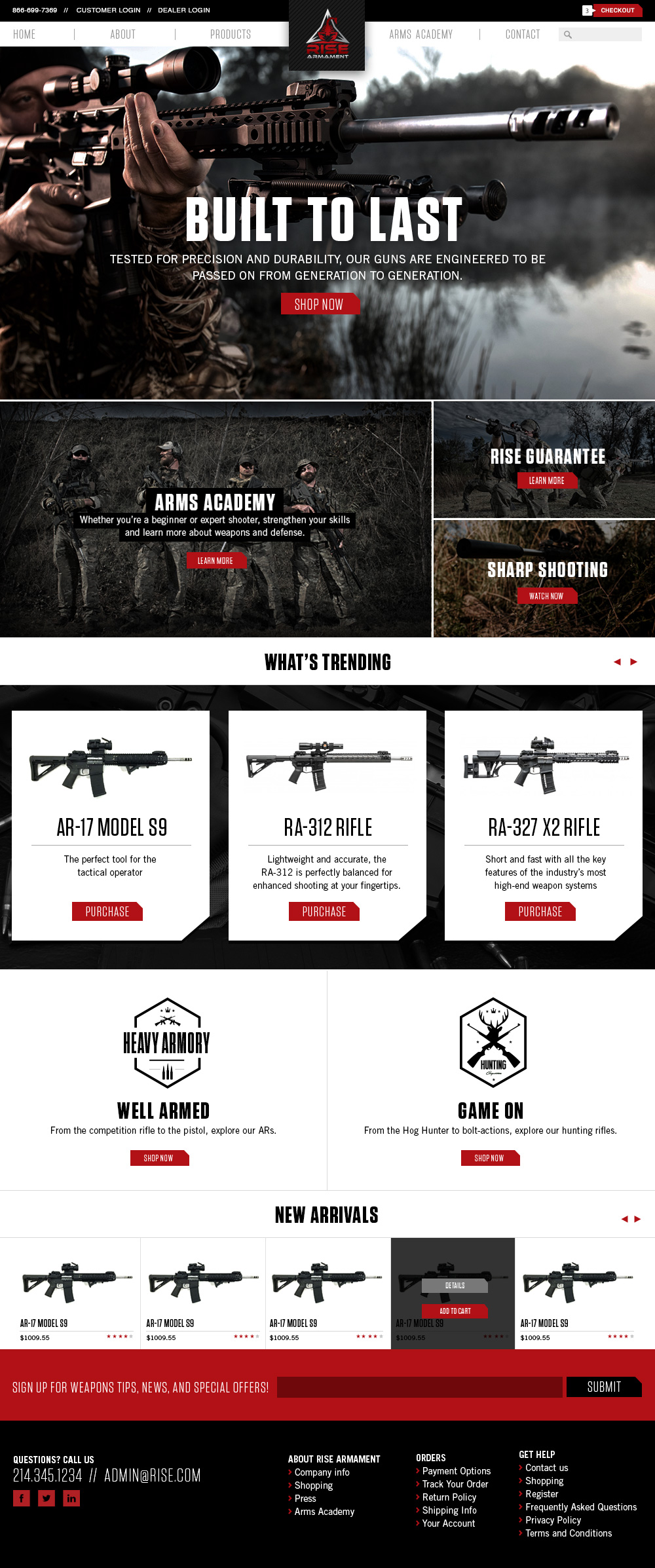 Rise Armor homepage